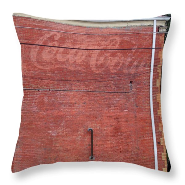 Coca Cola Faded Throw Pillow by Denise Keegan Frawley