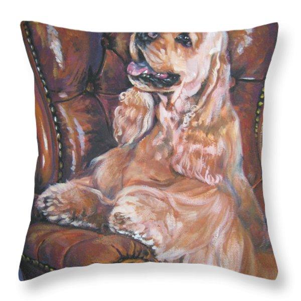 Cocker Spaniel On Chair Throw Pillow by L A Shepard