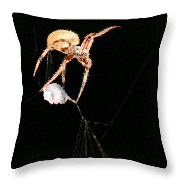 Cocooning the Victim Throw Pillow by Kristin Elmquist