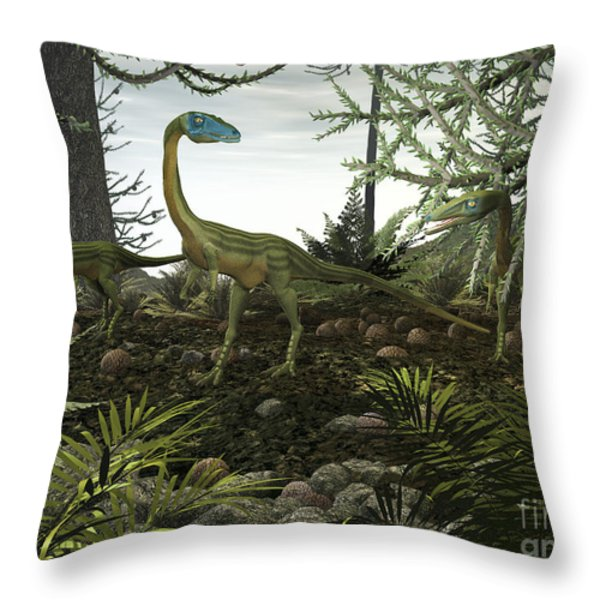 Coelophysis Dinosaurs Walk Amongst Throw Pillow by Walter Myers