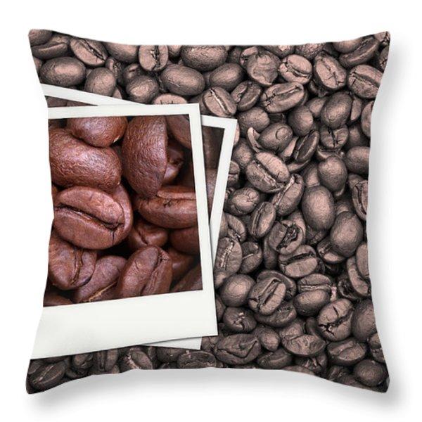 Coffee beans polaroid Throw Pillow by Jane Rix