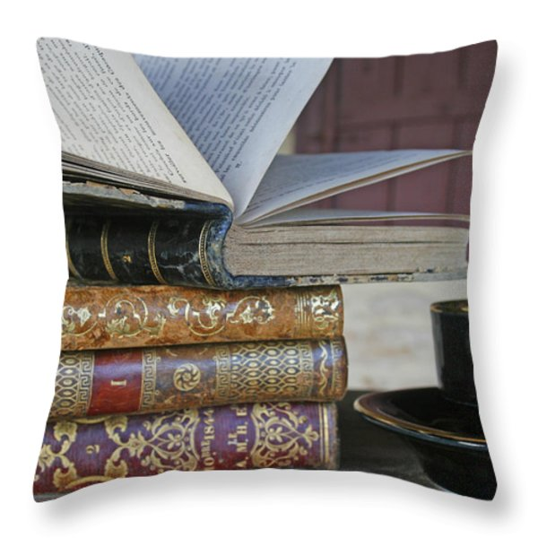 Coffee Break With Books Throw Pillow by Nomad Art And  Design