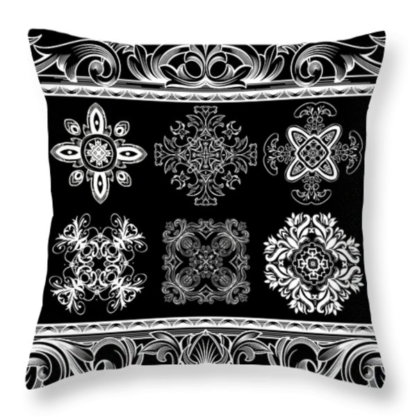 Coffee Flowers Ornate Medallions Bw 6 Piece Collage Framed  Throw Pillow by Angelina Vick