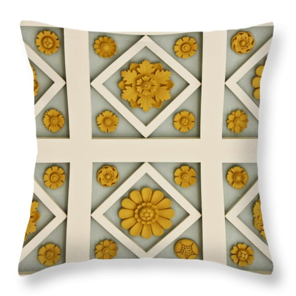 Coffered Ceiling Detail at Getty Villa Throw Pillow by Teresa Mucha
