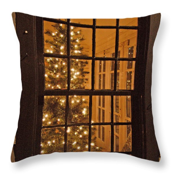 Colonial Christmas Throw Pillow by Joann Vitali
