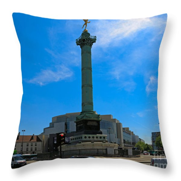 Colonne de Juillet and Opera de Paris Bastille Throw Pillow by Louise Heusinkveld