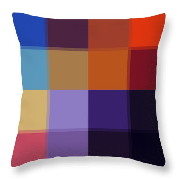 Color Block Colorful I By Madart Throw Pillow by Megan Duncanson