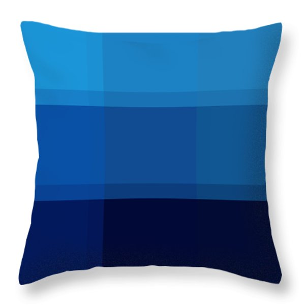 COLOR BLOCK Dark Blues by MADART Throw Pillow by Megan Duncanson