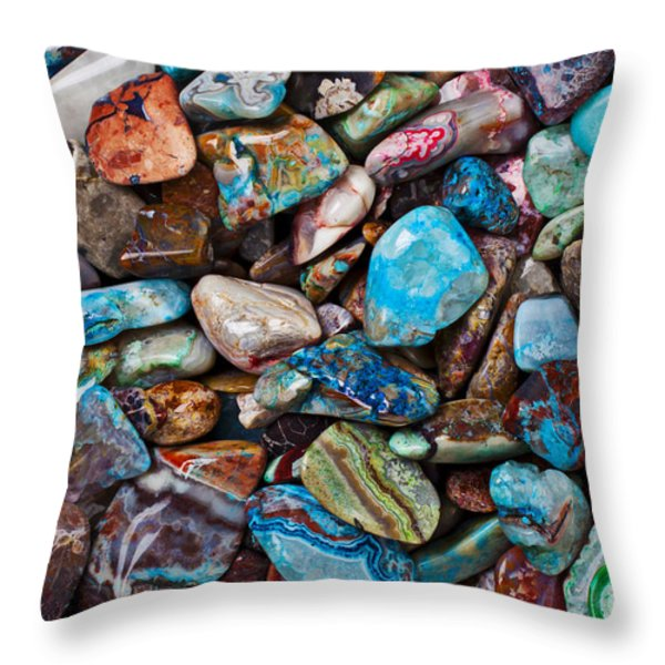 Colored Polished Stones Throw Pillow by Garry Gay