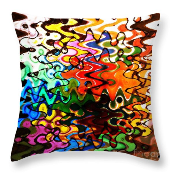 Colorful Abstract Design Square Throw Pillow by Carol Groenen