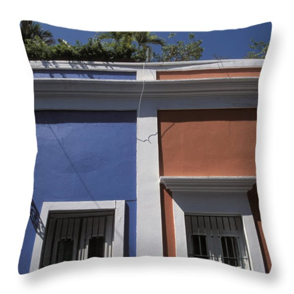 Colorful Architecture In Old San Juan Throw Pillow by Scott S. Warren