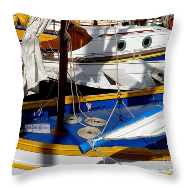 Colorful Boats Throw Pillow by Lainie Wrightson