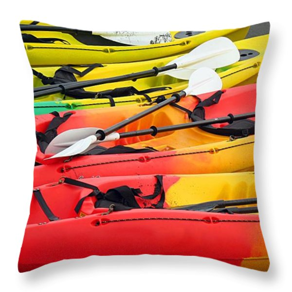 Colorful Canoes Throw Pillow by Yali Shi