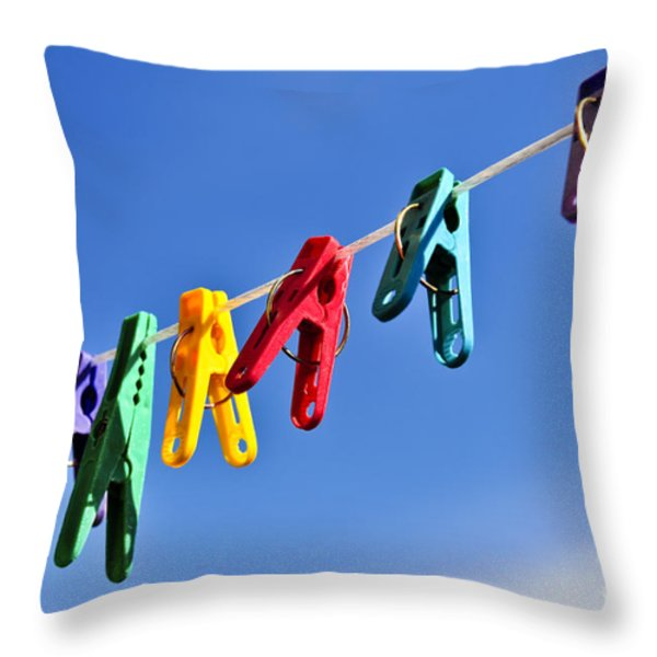 Colorful Clothes Pins Throw Pillow by Elena Elisseeva