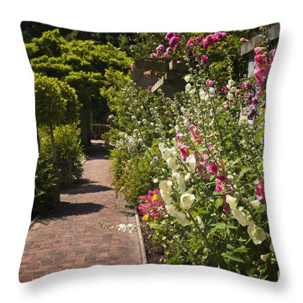 Colorful flower garden Throw Pillow by Elena Elisseeva