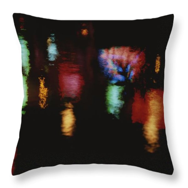 Colorful Neon Of Popular Nightspots Throw Pillow by Stephen St. John