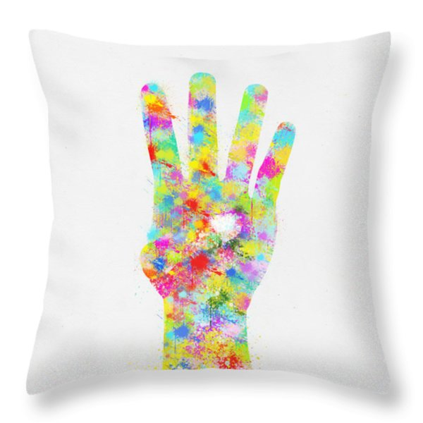 Colorful Painting Of Hand Pointing Four Finger Throw Pillow by Setsiri Silapasuwanchai