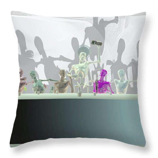 Colorful plastic sacrament Throw Pillow by Joaquin Abella