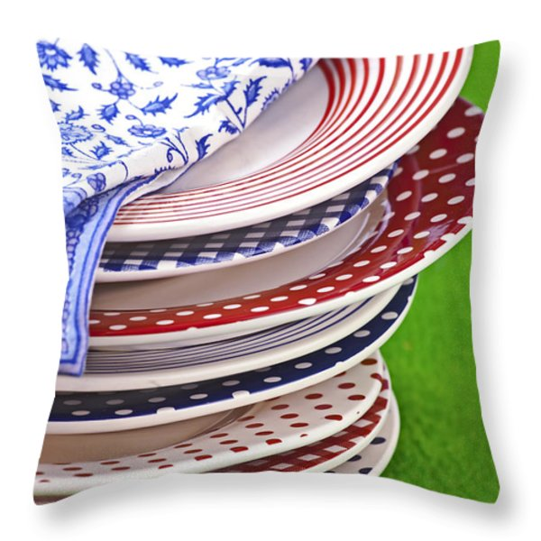 Colorful Plates Throw Pillow by Joana Kruse