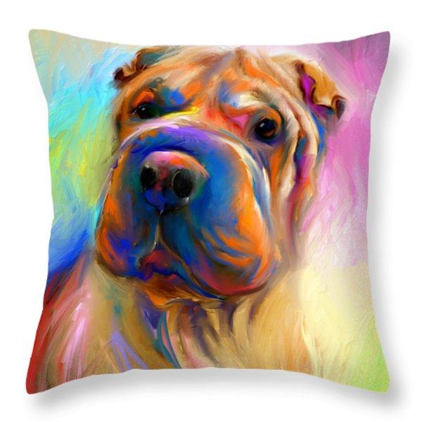 Colorful Shar Pei Dog portrait painting  Throw Pillow by Svetlana Novikova