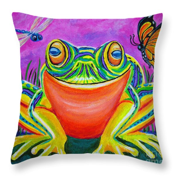 Colorful Smiling Frog-voodoo Frog Throw Pillow by Nick Gustafson