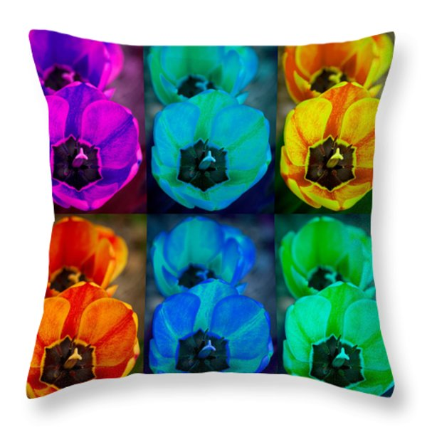 Colorful Tulip Collage Throw Pillow by James BO  Insogna