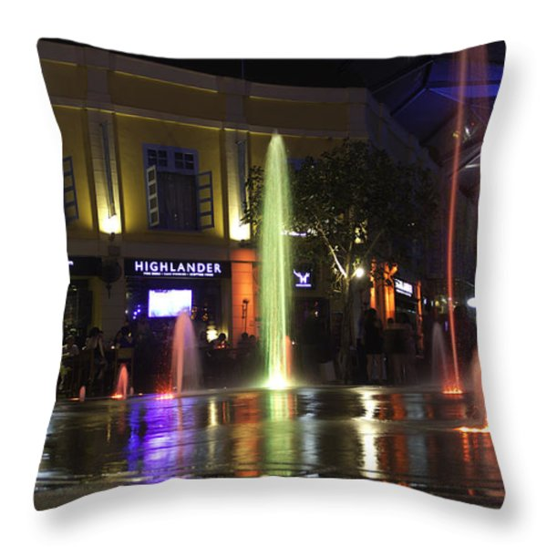 Colorful Water Jets At Clarke Quay In Singapore Throw Pillow by Ashish Agarwal