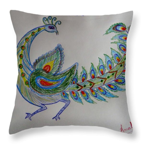 Colourful Bird Throw Pillow by Sonali Gangane