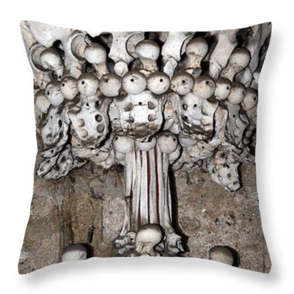 Column From Human Bones And Sku Throw Pillow by Michal Boubin