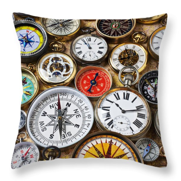 Compases And Pocket Watches  Throw Pillow by Garry Gay