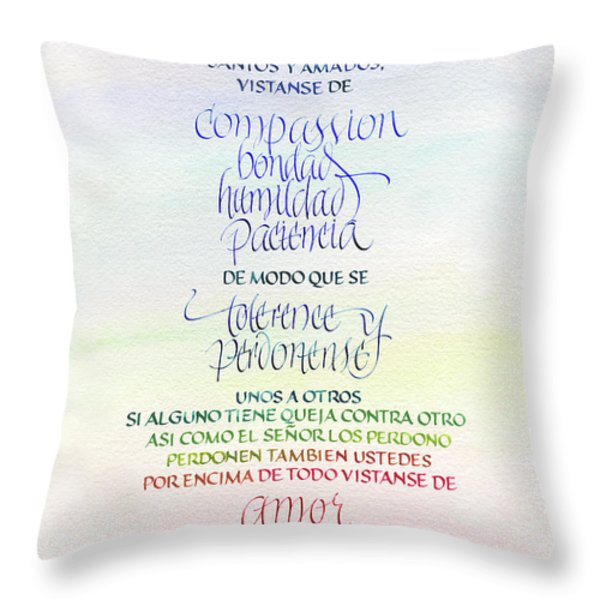 Compassion And Amor Throw Pillow by Judy Dodds