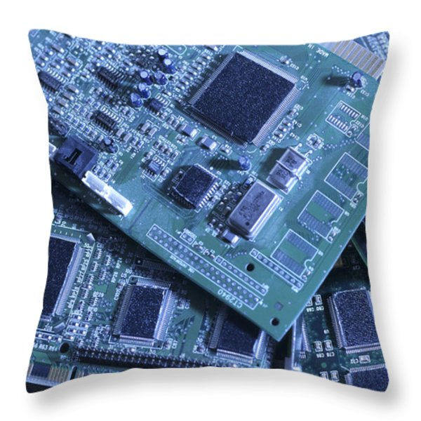 Computer Boards And Chips Lie In A Pile Throw Pillow by Taylor S. Kennedy