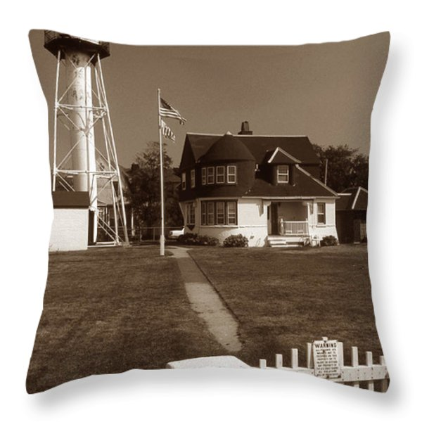 CONEY ISLAND LIGHTHOUSE Throw Pillow by Skip Willits