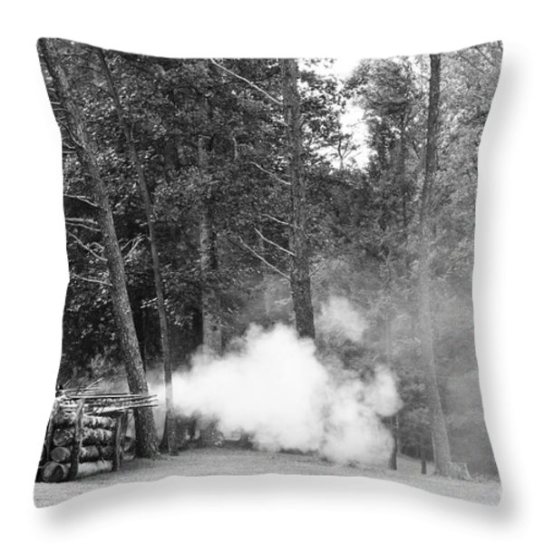 Confederate Breastworks Throw Pillow by Thomas R Fletcher