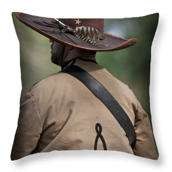 Confederate Cavalry Soldier Throw Pillow by Kim Henderson