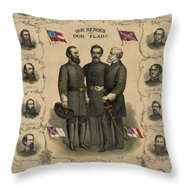 Confederate Generals of The Civil War Throw Pillow by War Is Hell Store