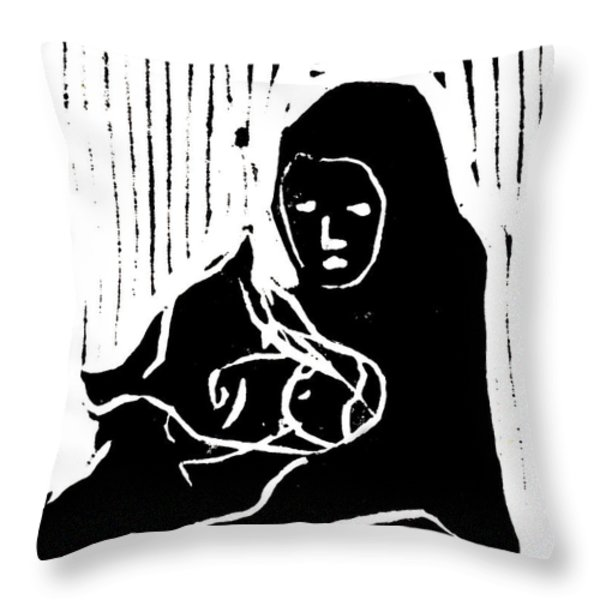 Consoling Cow Throw Pillow by Anon Artist