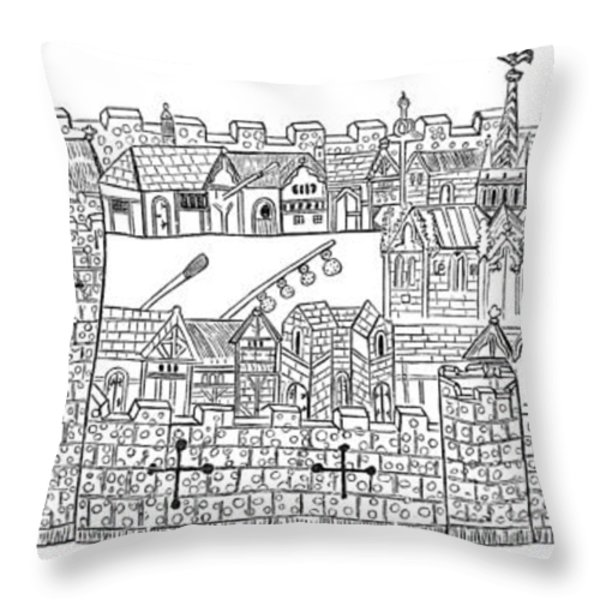 Constantinople, Procession At City Throw Pillow by Photo Researchers