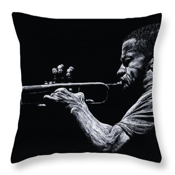 Contemporary Jazz Trumpeter Throw Pillow by Richard Young