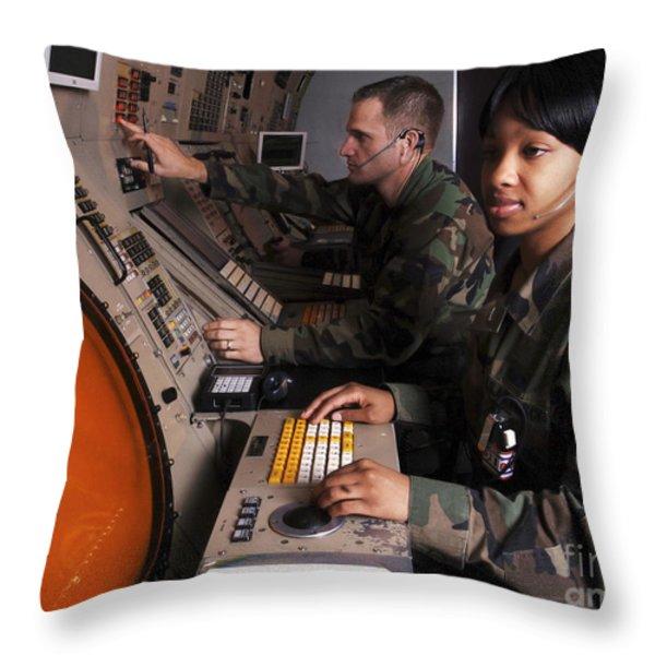 Control Technicians Use Radarscopes Throw Pillow by Stocktrek Images