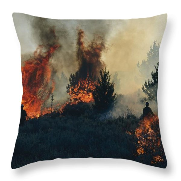 Controlled Fires Burn Eagerly In Small Throw Pillow by Melissa Farlow
