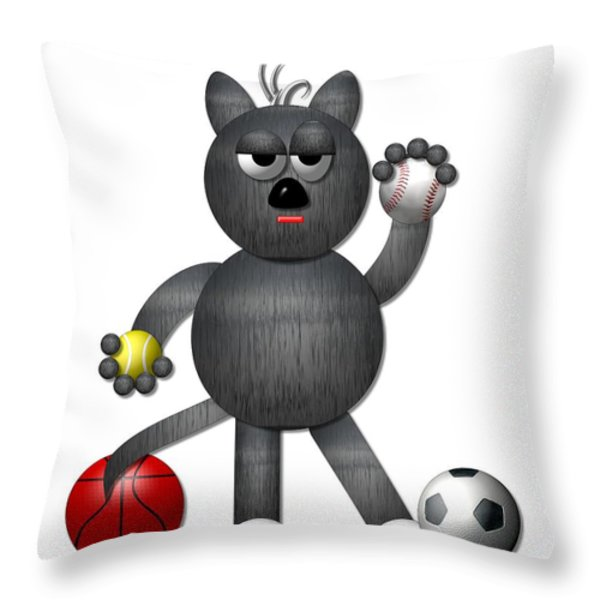 Cool Alley Cat Athlete Throw Pillow by Rose Santuci-Sofranko