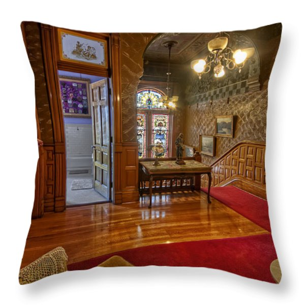 Copper King Mansion 2nd Floor Landing - Butte Montana Throw Pillow by Daniel Hagerman
