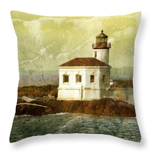 Coquille River Lighthouse Throw Pillow by Jill Battaglia