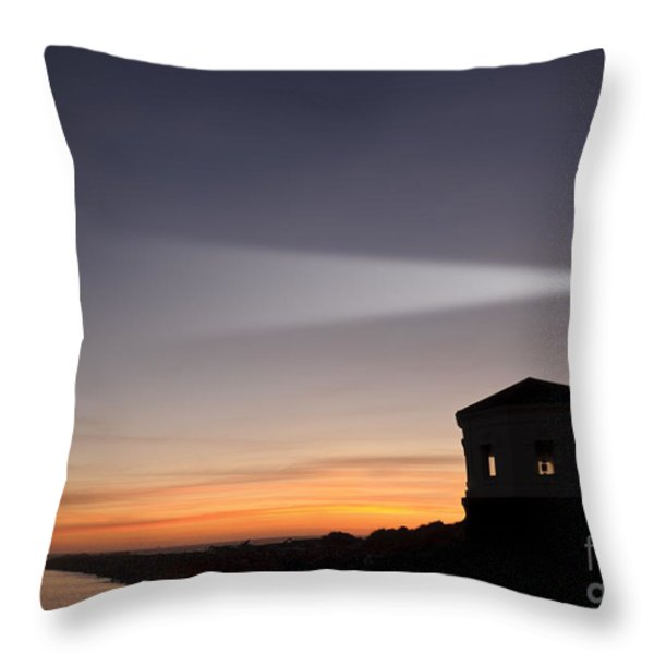 Coquille River Lighthouse Throw Pillow by John Shaw and Photo Researchers