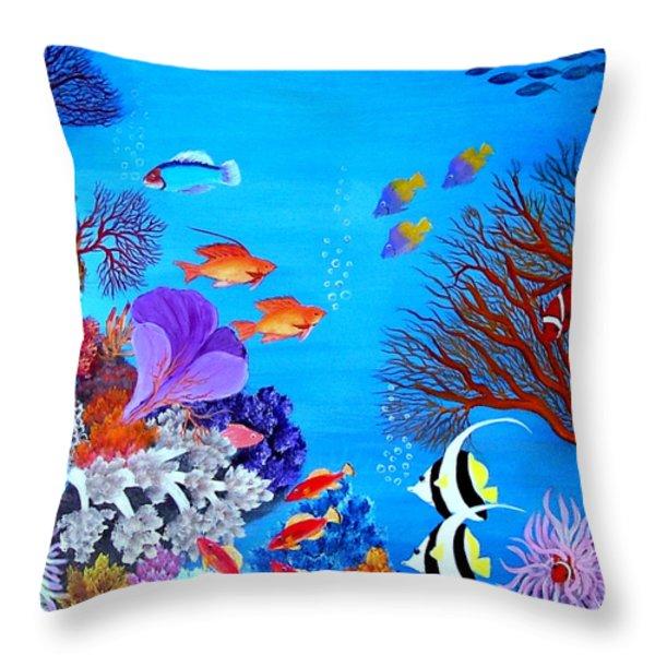 Coral Garden Throw Pillow by Fram Cama