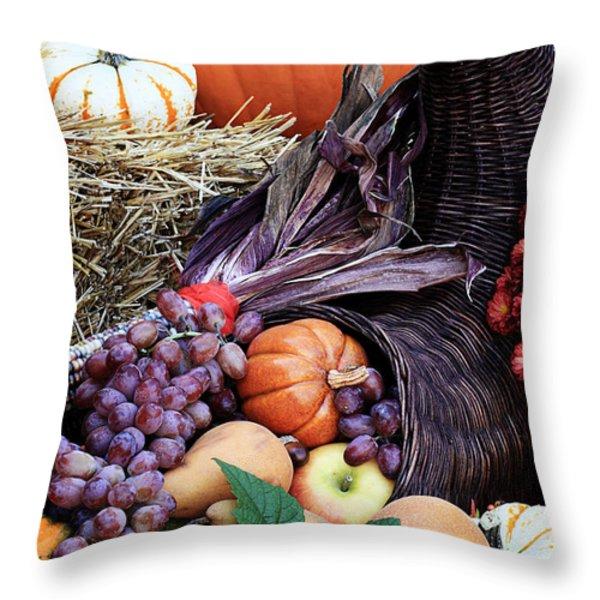 Cornucopia Or Horn Of Plenty Throw Pillow by Stephanie Frey