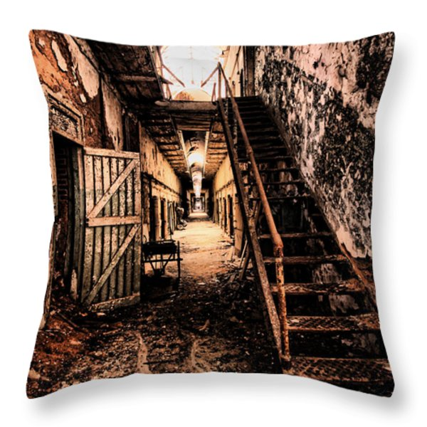 Corridor Creep Throw Pillow by Andrew Paranavitana