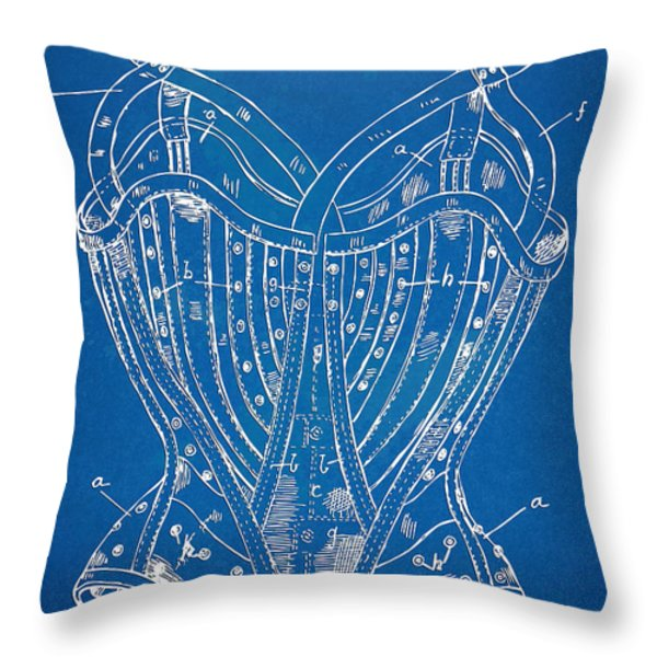 Corset Patent Series 1905 French Throw Pillow by Nikki Marie Smith