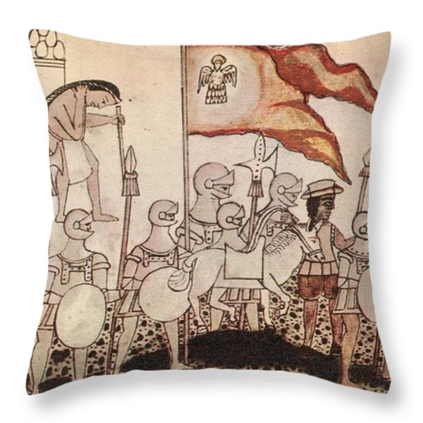 Cortez Entering Mexico 1519 Throw Pillow by Photo Researchers
